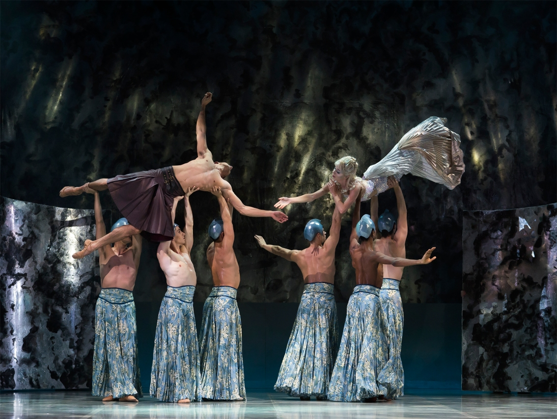 Joseph Taylor as Prince Adair and Abigail Prudames as Marilla with Northern Ballet dancers. Photo Emma Kauldhar..jpg
